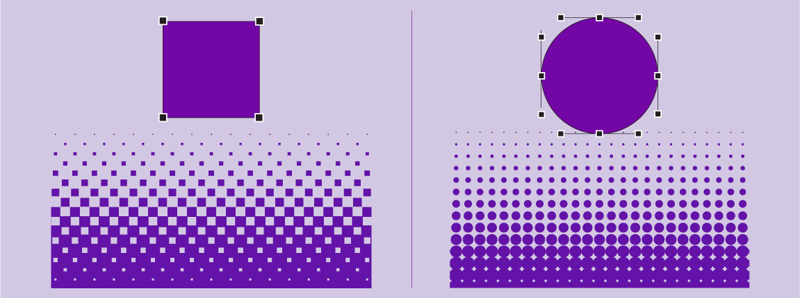 a square and a circle, plus their nodes