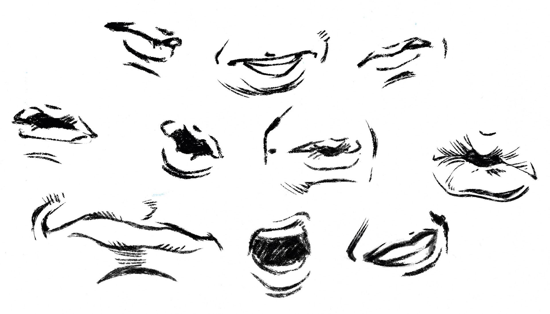 Several drawings of lips in different expressions