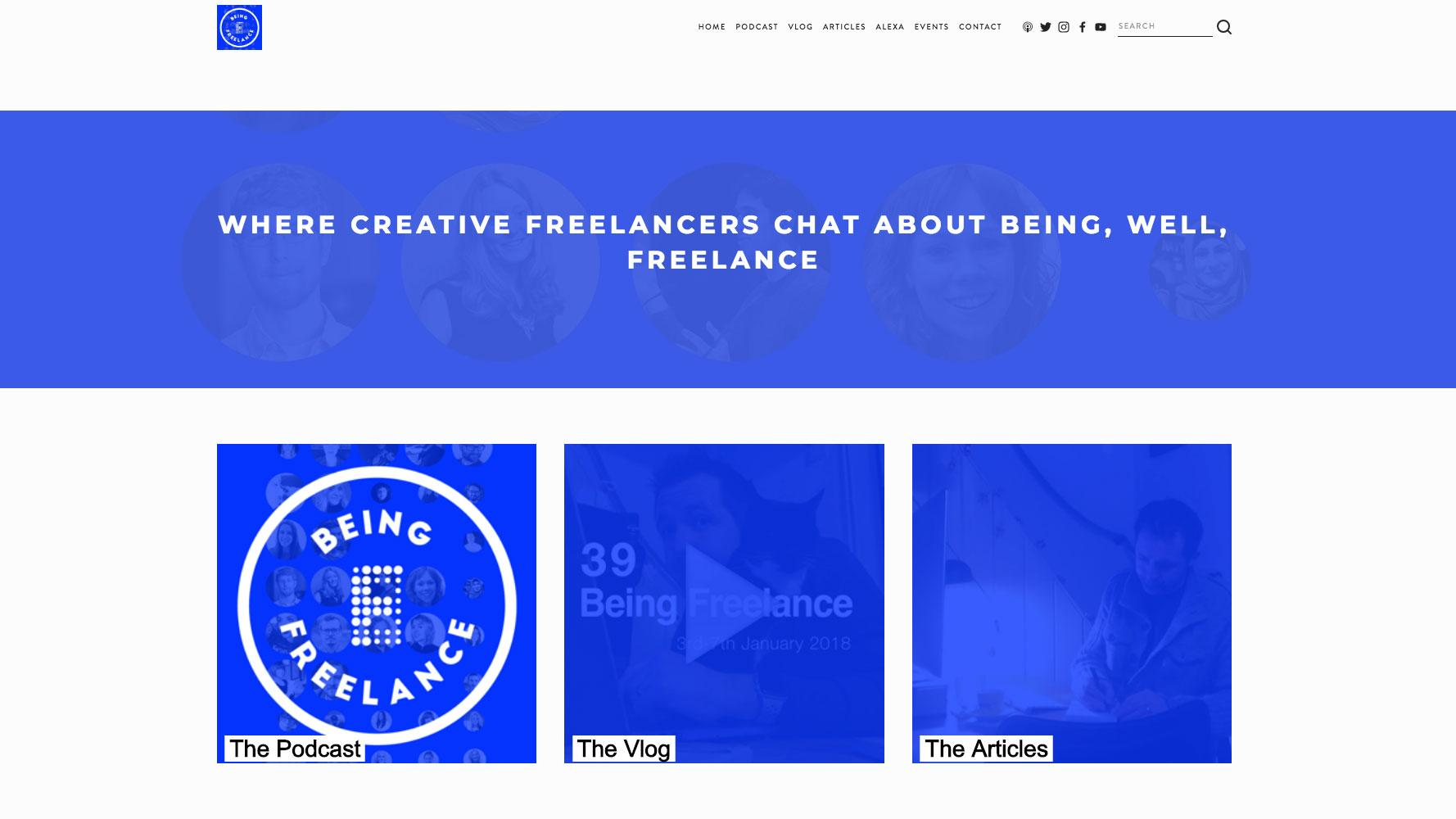 Being Freelance homepage