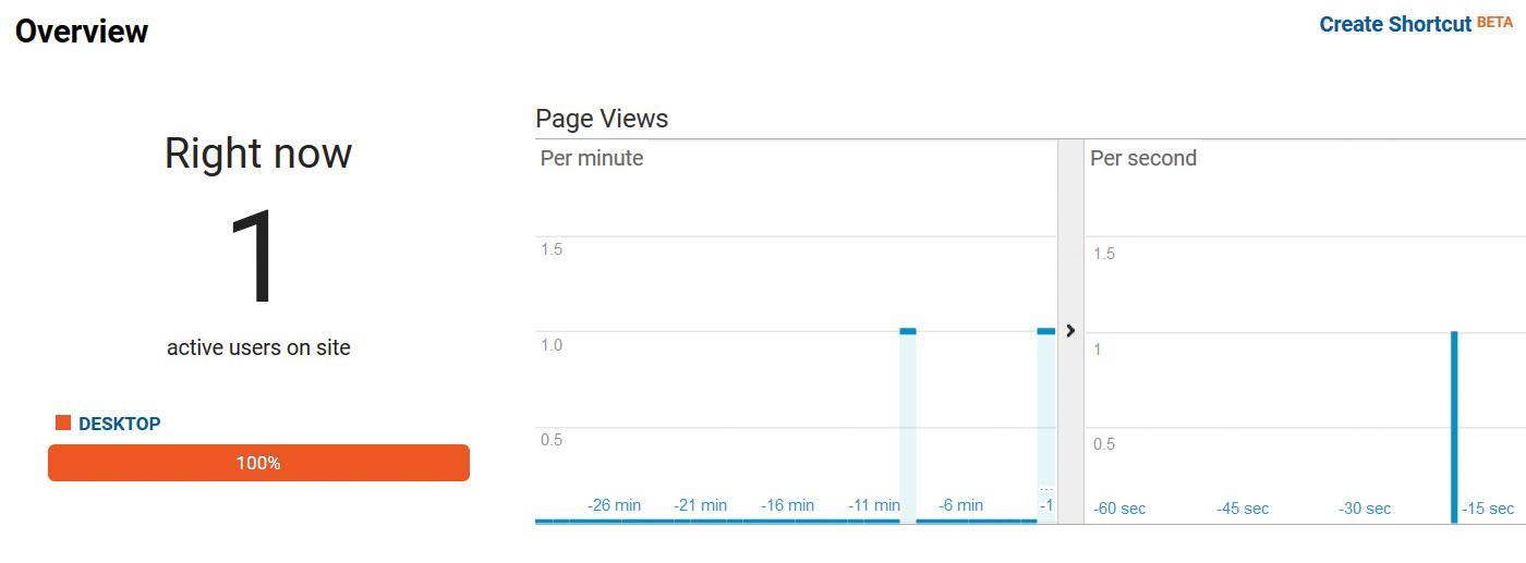 Google Analytics real-time data