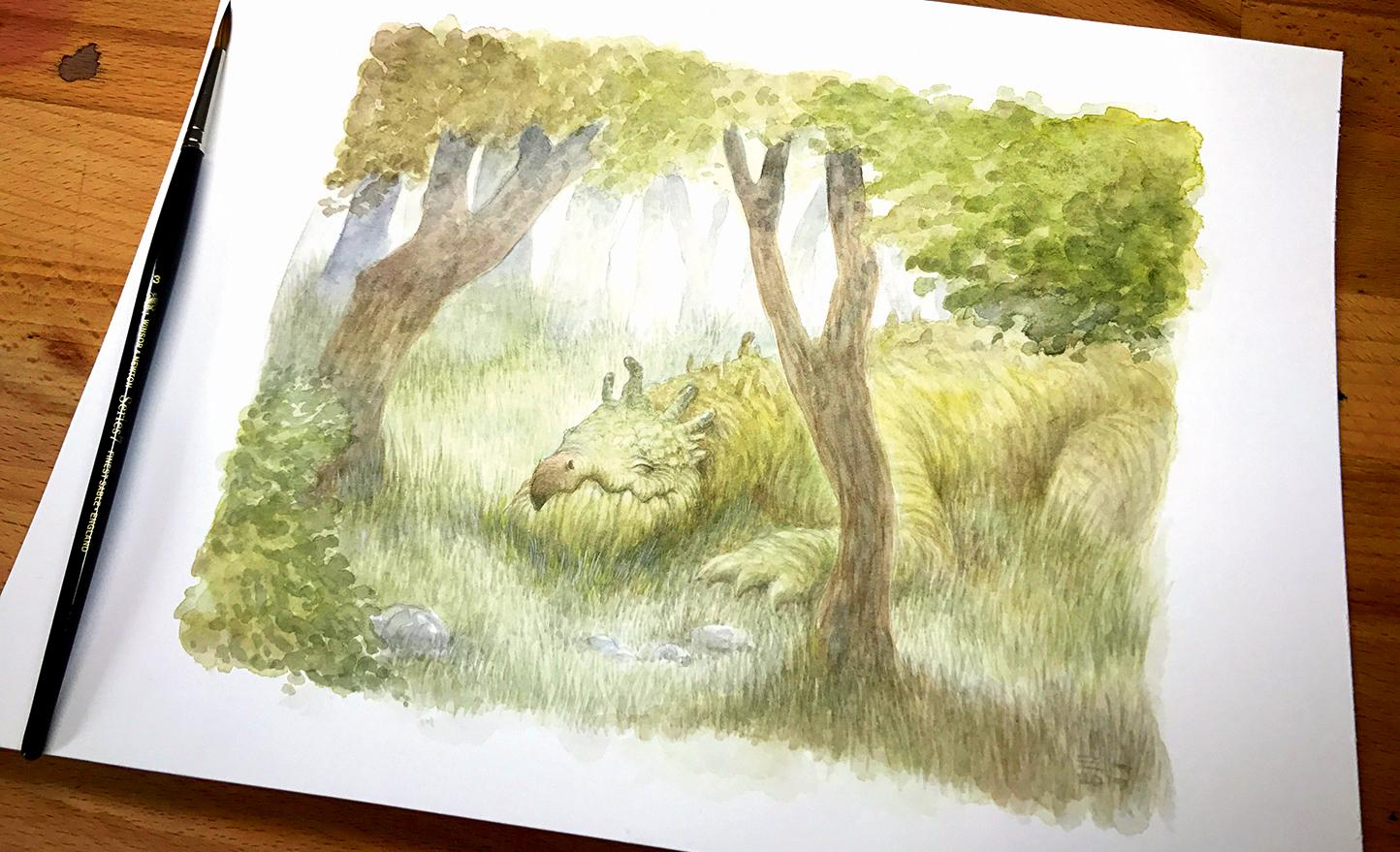 creature illustration on a piece of paper