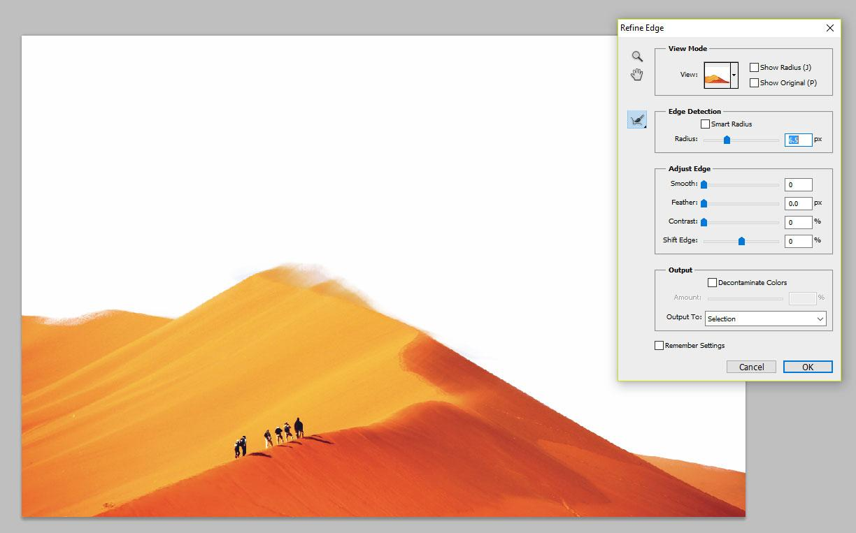 sand dune in Photoshop with Refine Edge tool