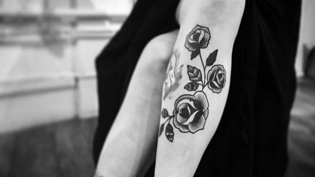 monochrome rose tattoo