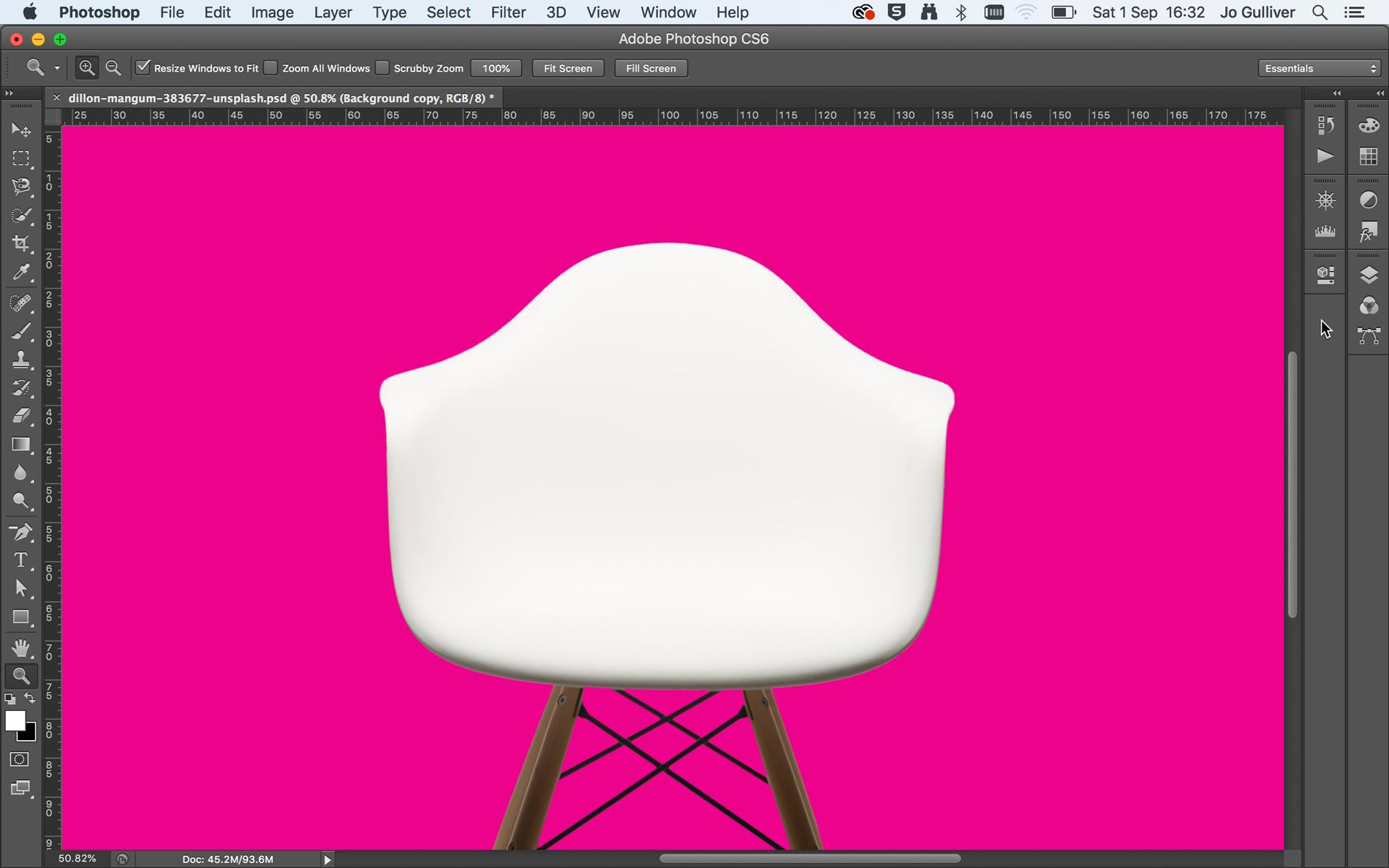 Screenshot of a white chair on a pink background in Photoshop