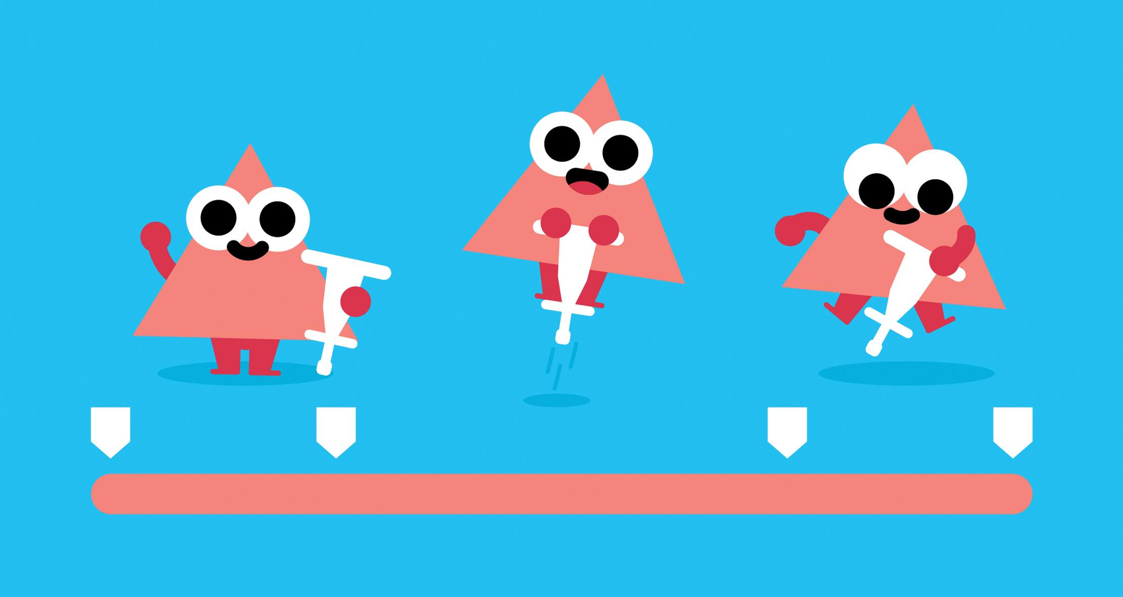 finished animation with triangles on pogo sticks