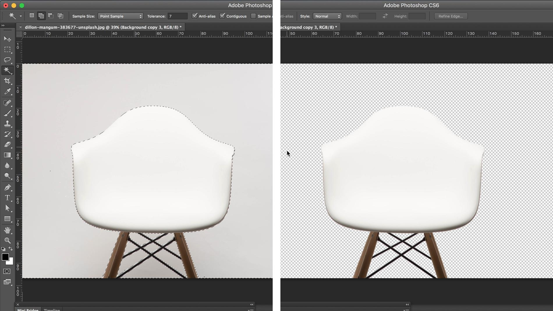 Screenshot of a chair with background removed in Photoshop