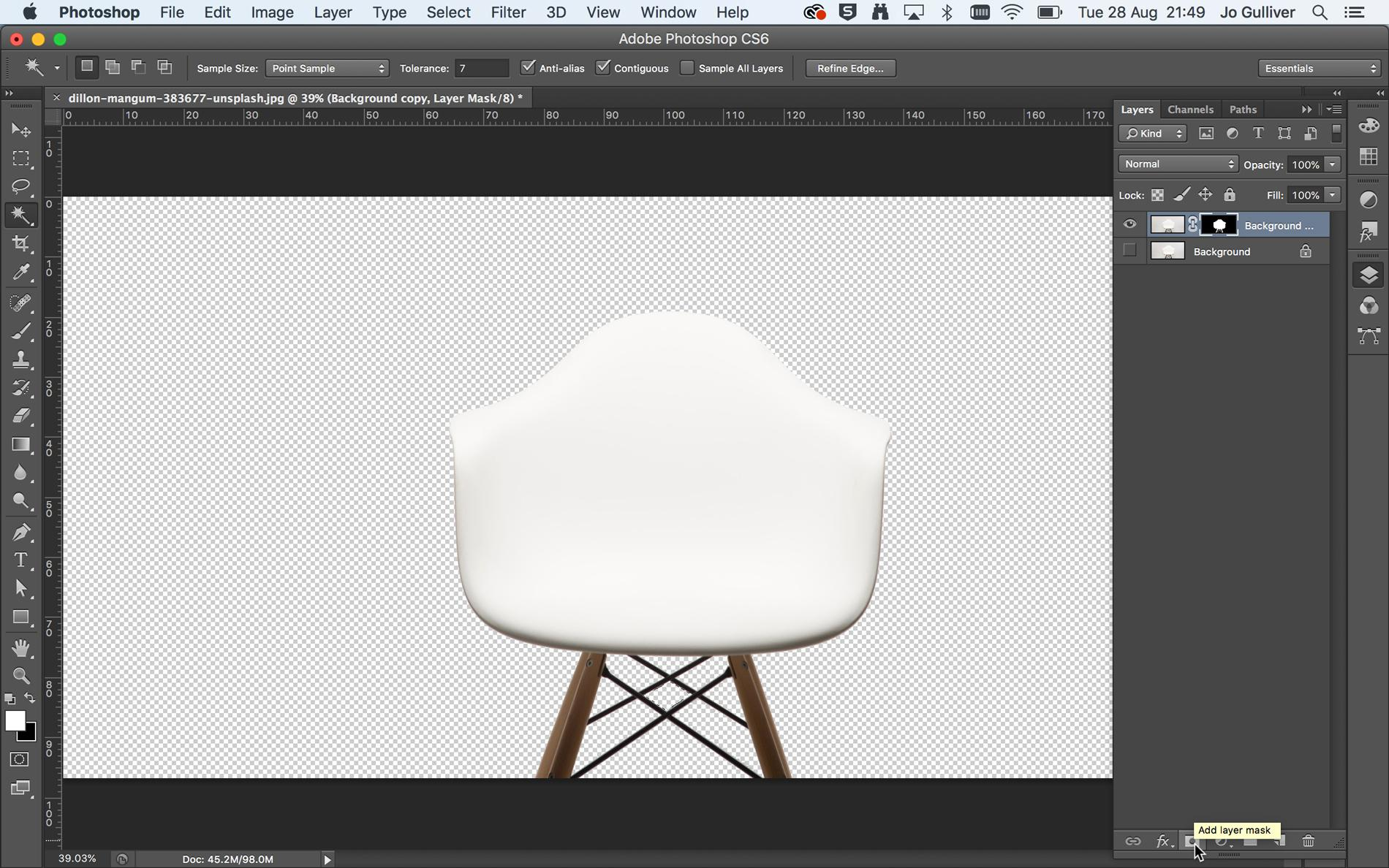 Screenshot of white chair with background removed in Photoshop