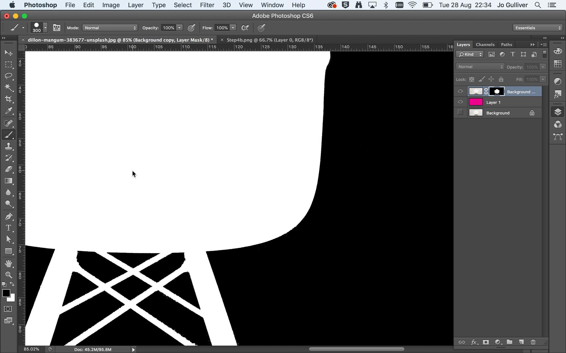 Screenshot of a silhouette of a chair in Photoshop