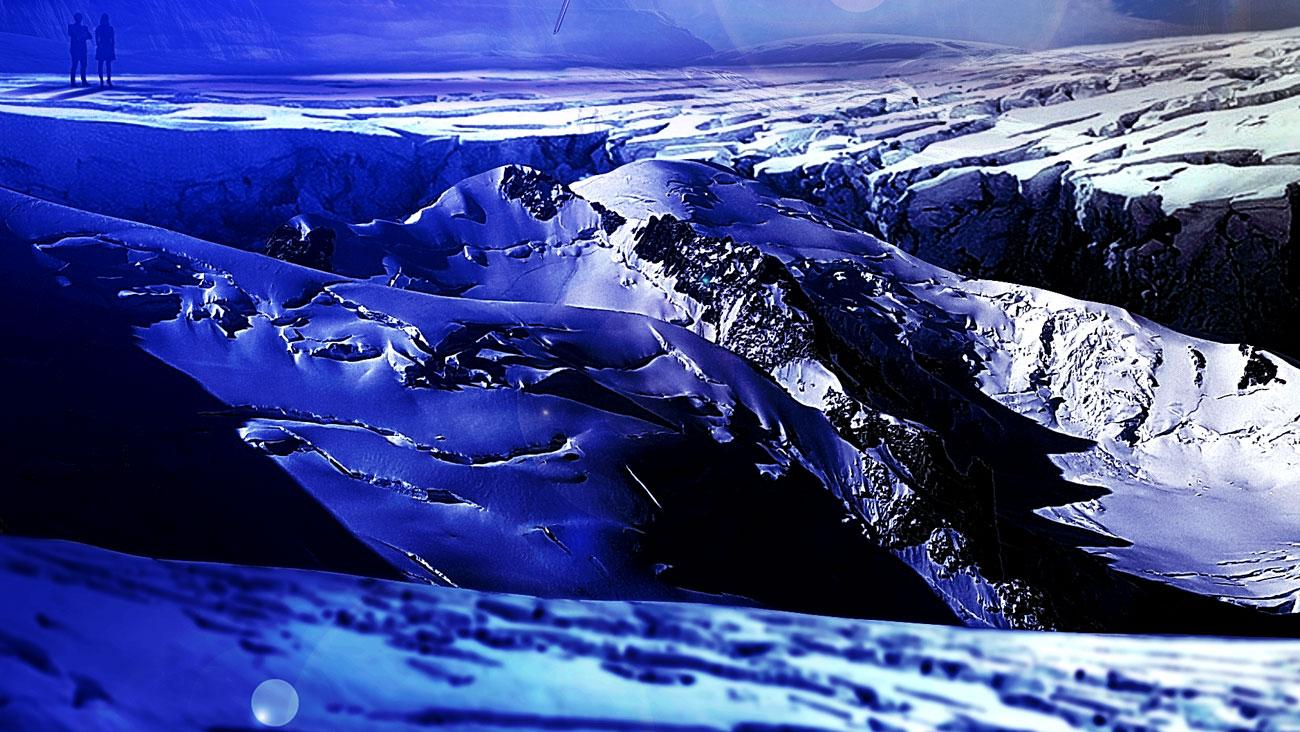 mountain image with oil paint effect