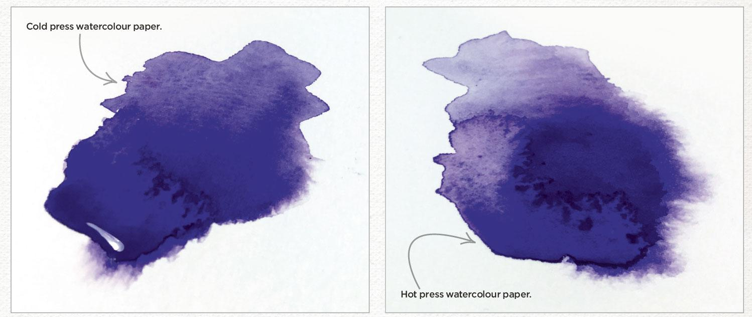 Examples of paint on both cold and hot watercolour paper