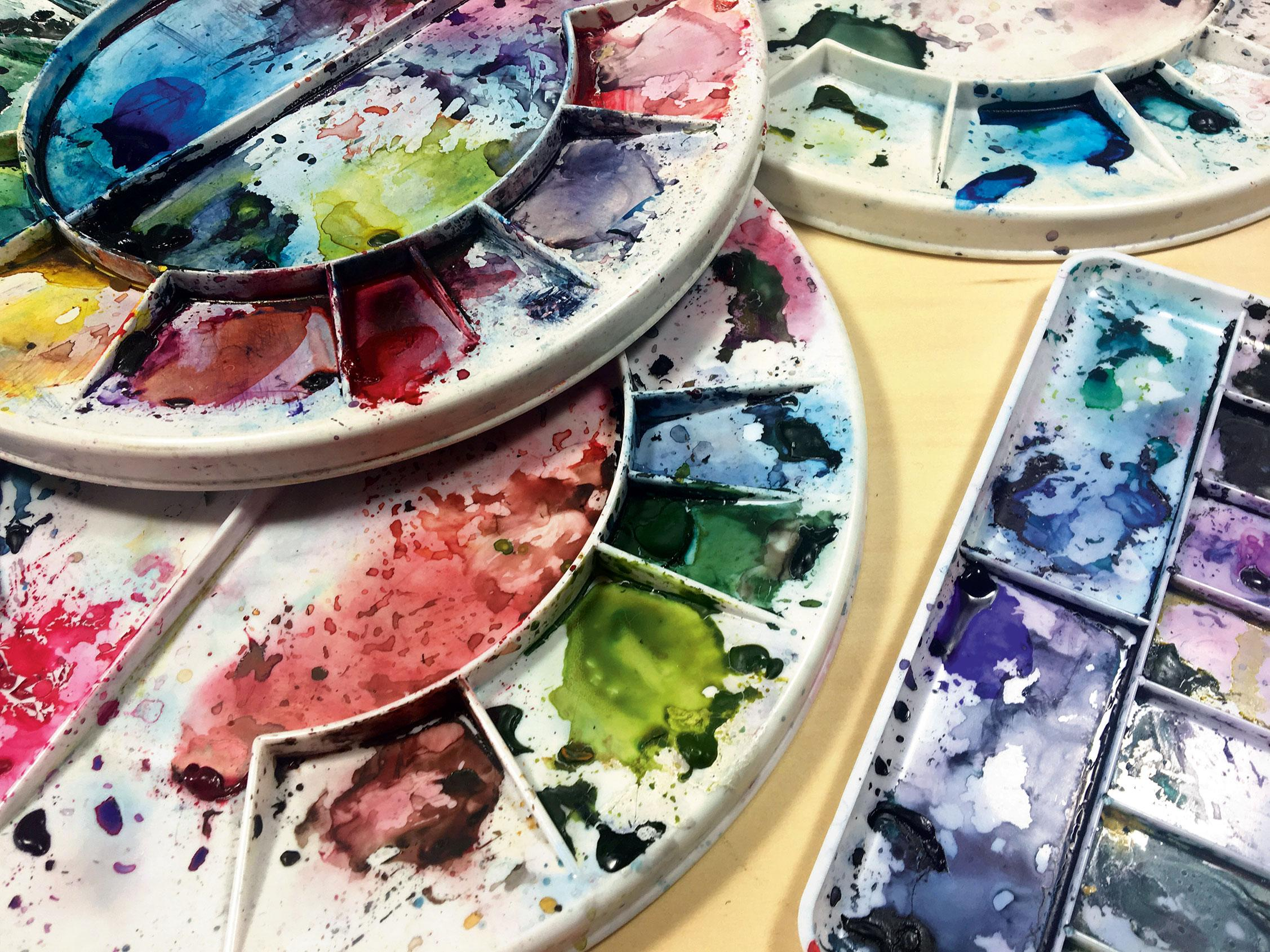 A selection of watercolour palettes