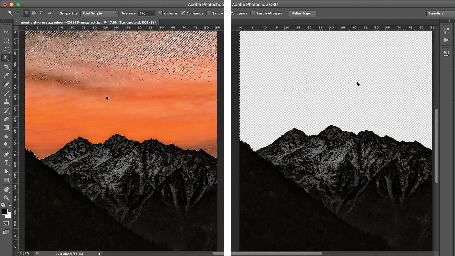 Screenshot of mountains in Photoshop with the background removed/selected