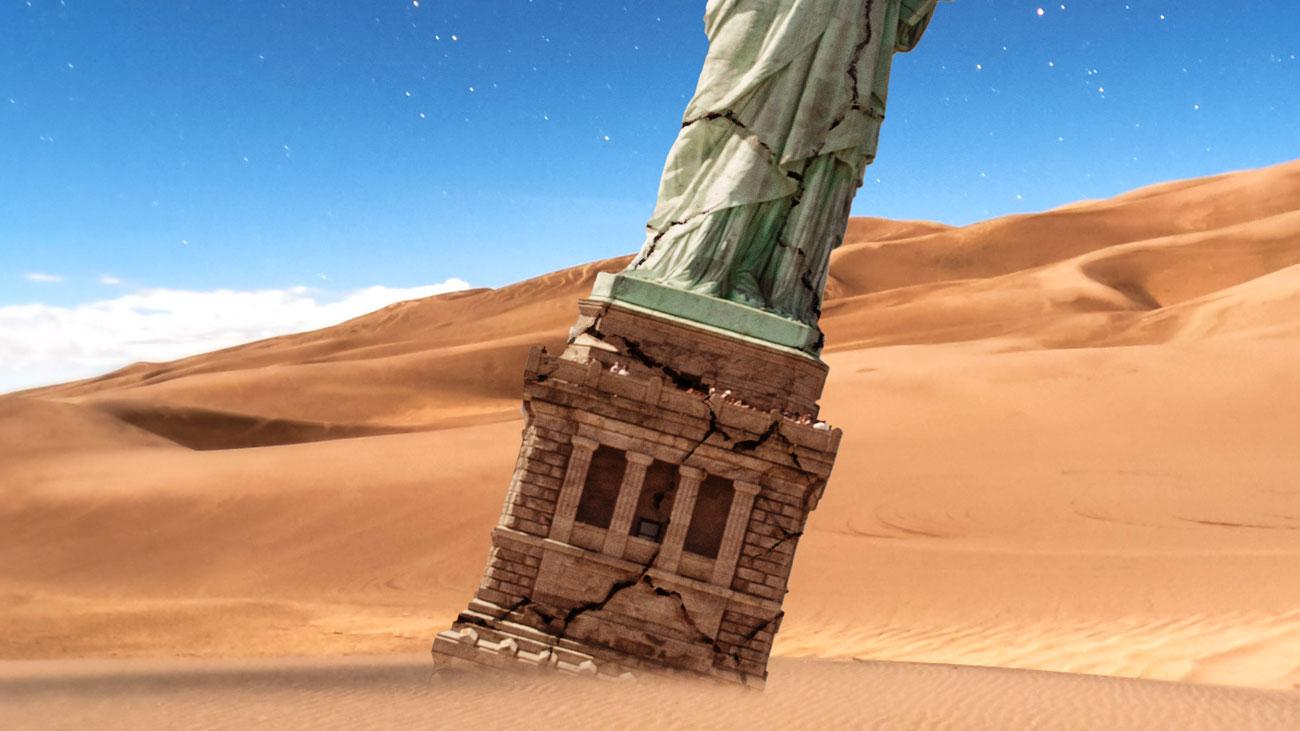 statue of liberty in the sand