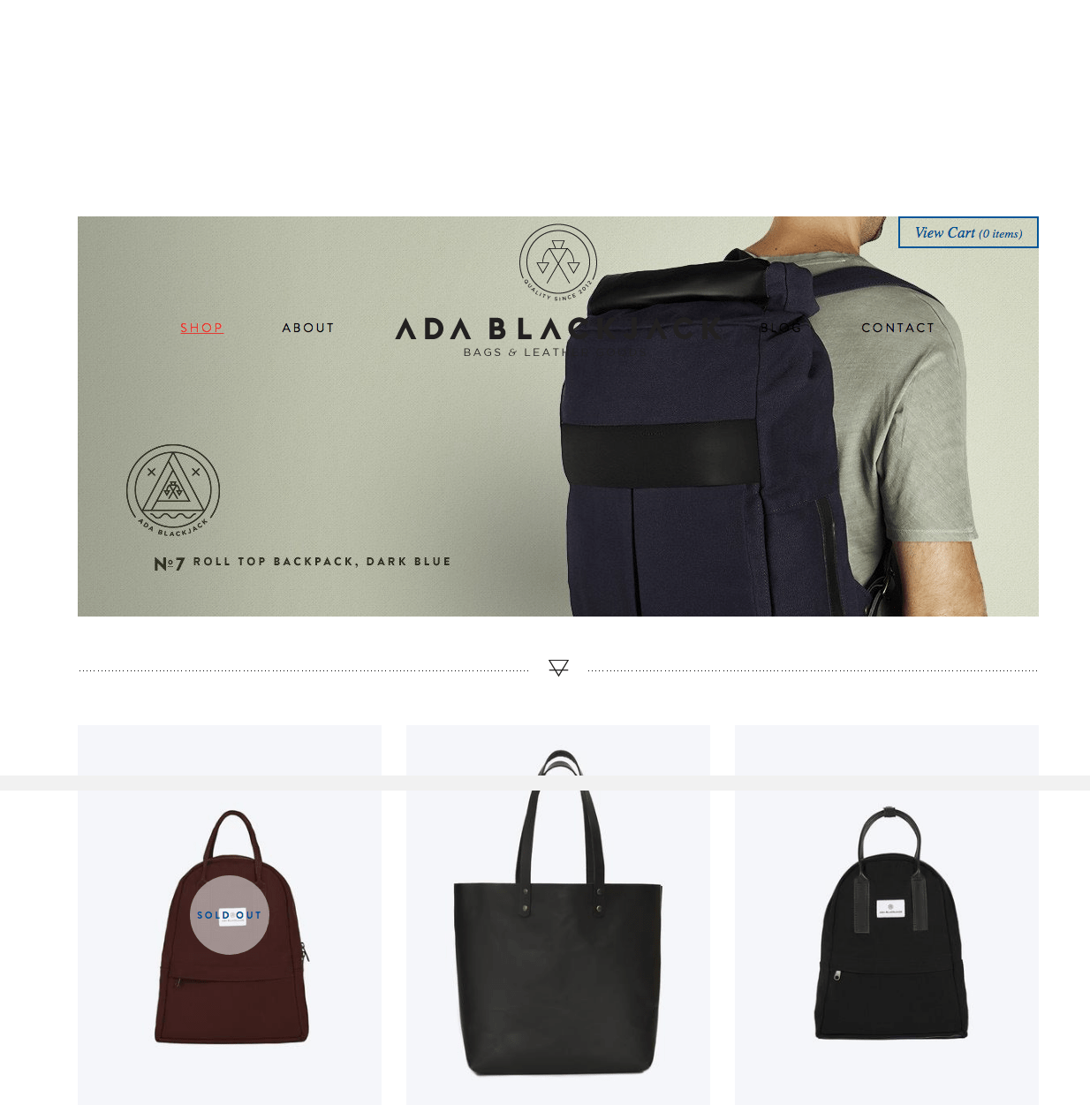 Ecommerce website designs: Ada Blackjack