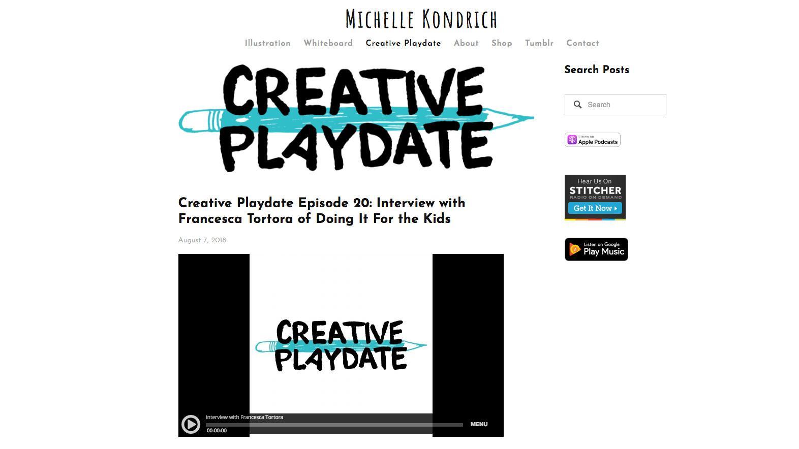 Creative Playdate homepage