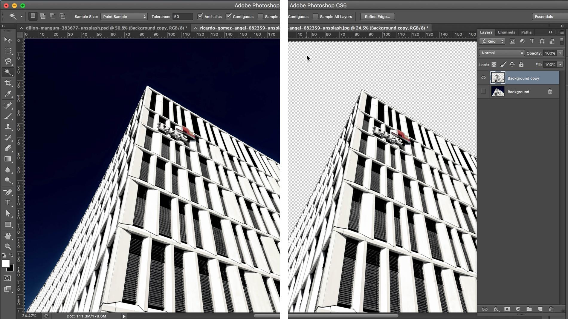 Screenshot of building with background removed in Photoshop