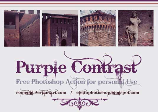 Free Photoshop actions: Purple contrast