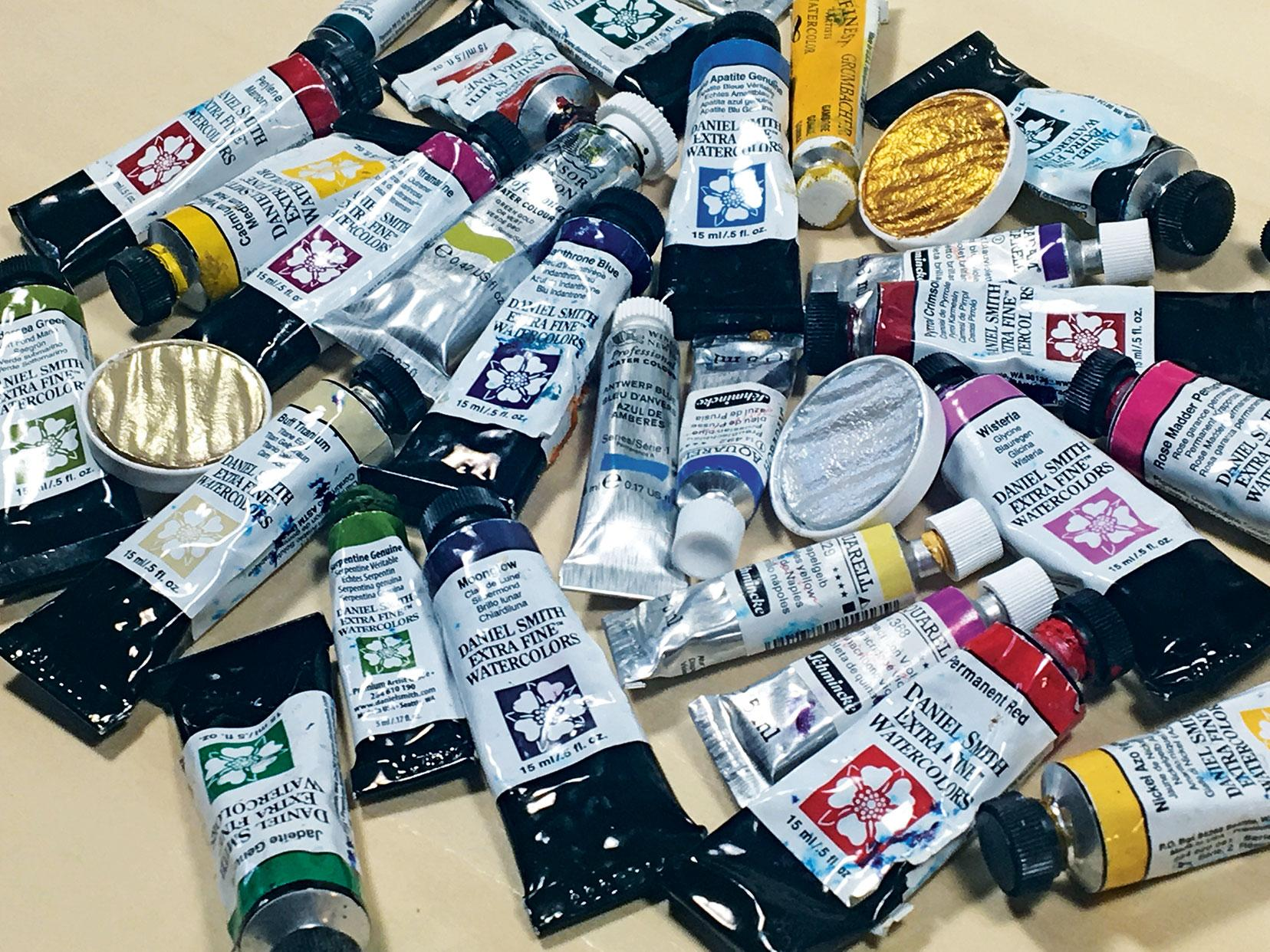 A selection of watercolour tubes