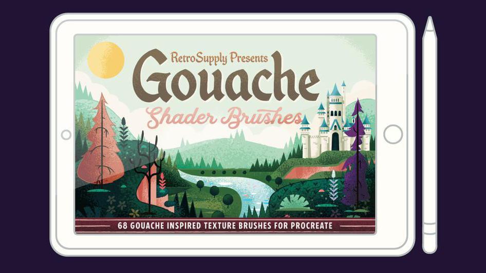 RetroSupply gouache Procreate brushes