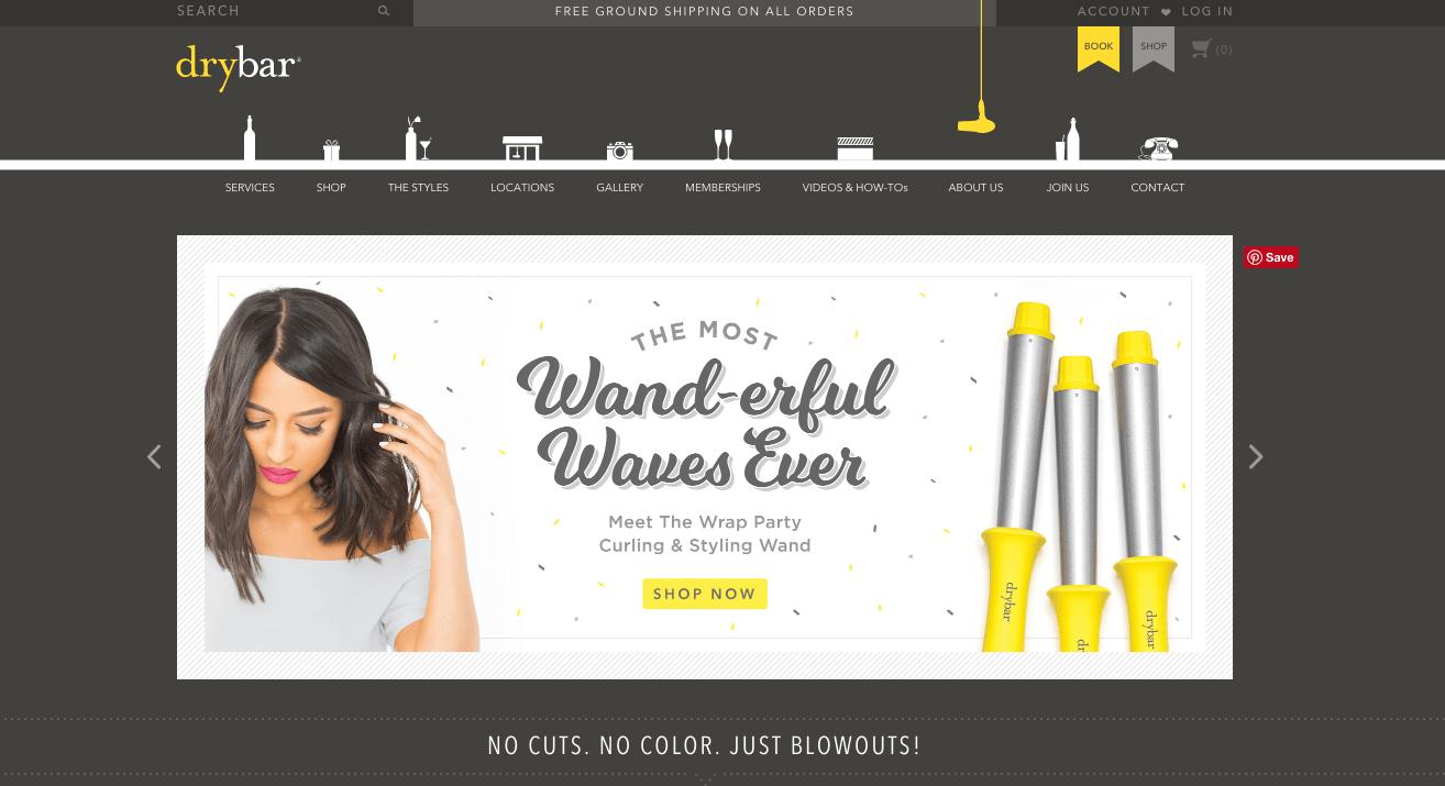 Ecommerce website designs: Drybar