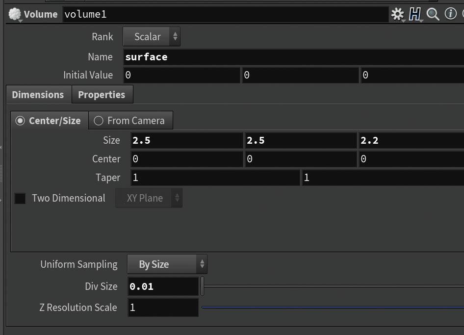 Create an empty volume toolbar