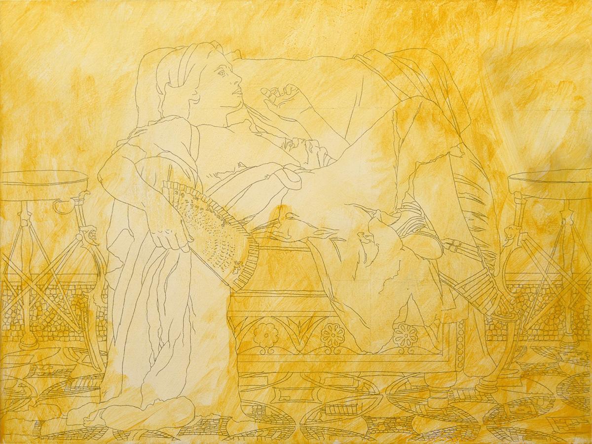 sketch with golden imprimatura tint
