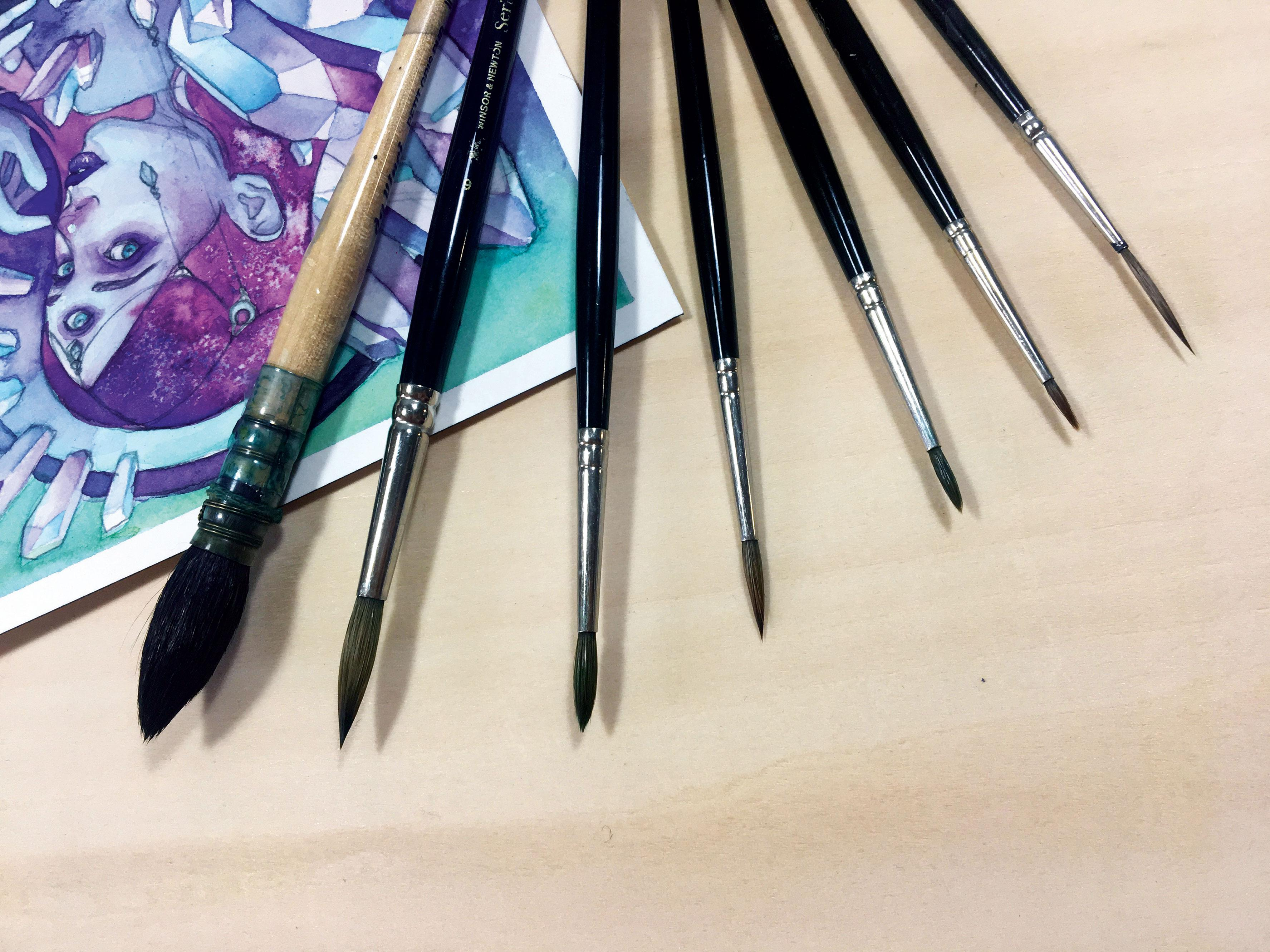 An array of watercolour brushes