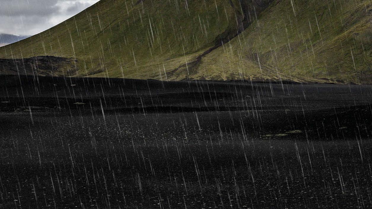 mountain with rain
