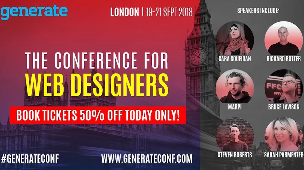 An image promoting the Generate London 2018 flash sale, offering half-price tickets for today only.