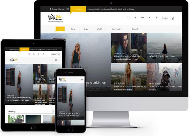 Free Bootstrap themes - 24 News