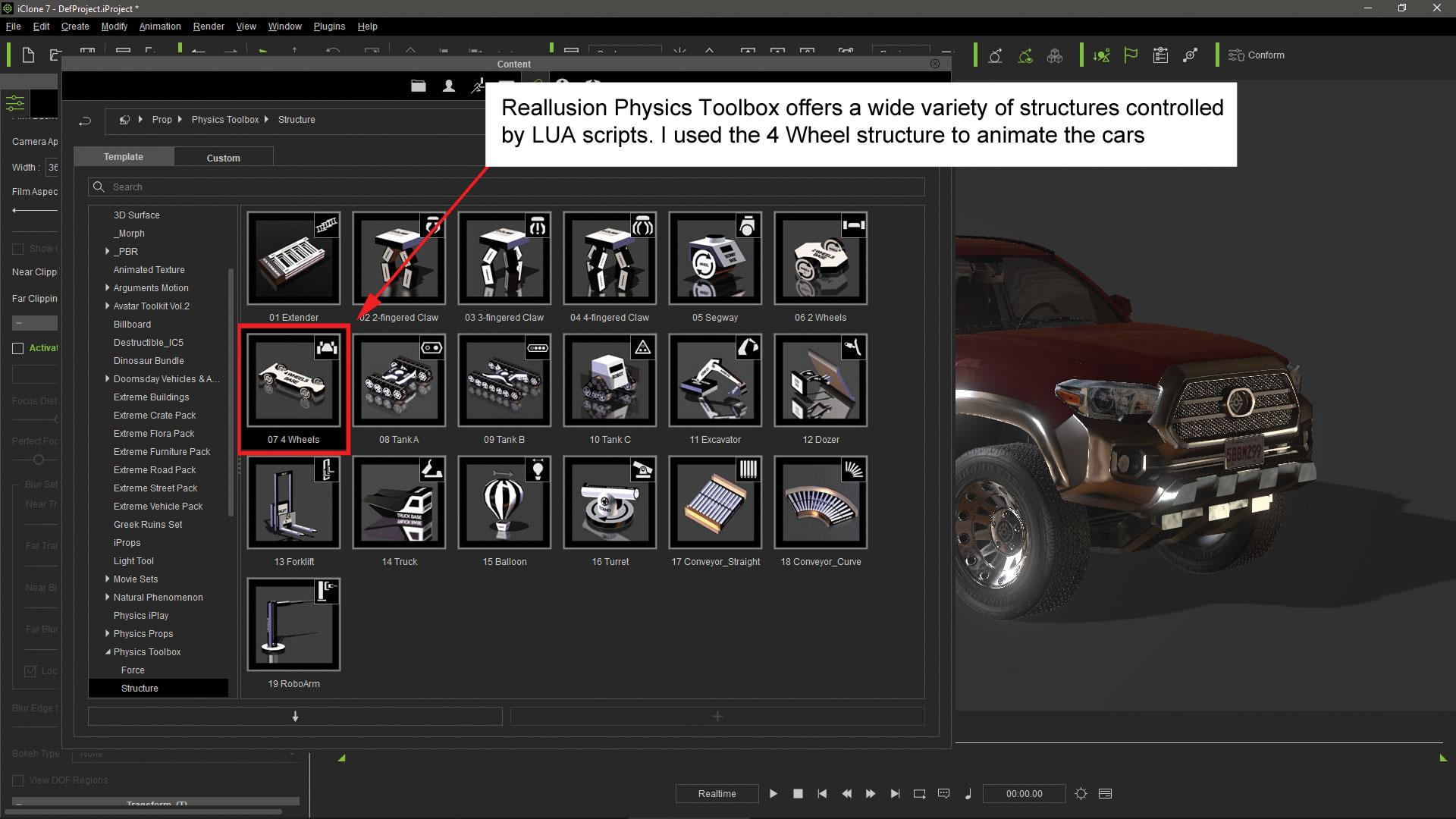 Make vehicle animations with iClone 7: Add elements to the terrain