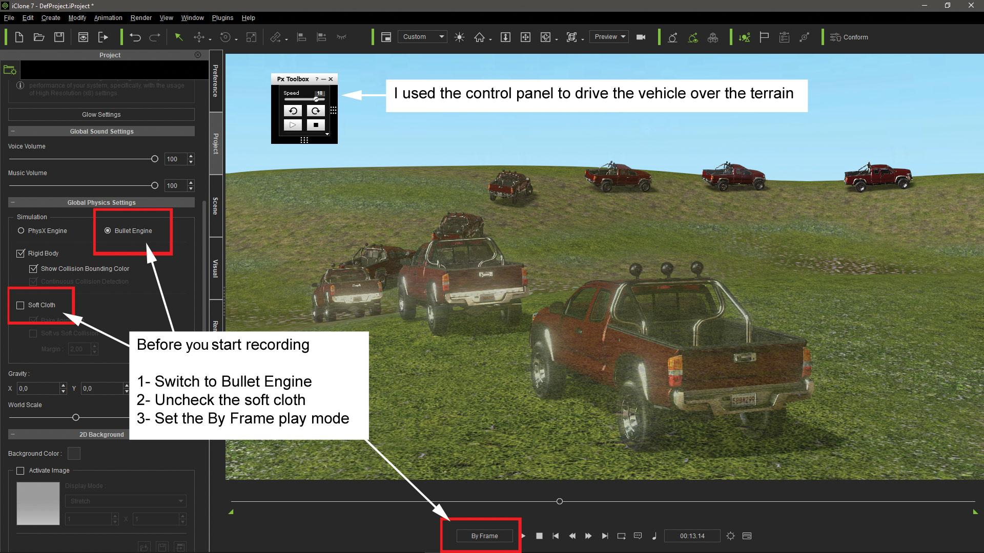 Make vehicle animations with iClone 7: Set physics to the props