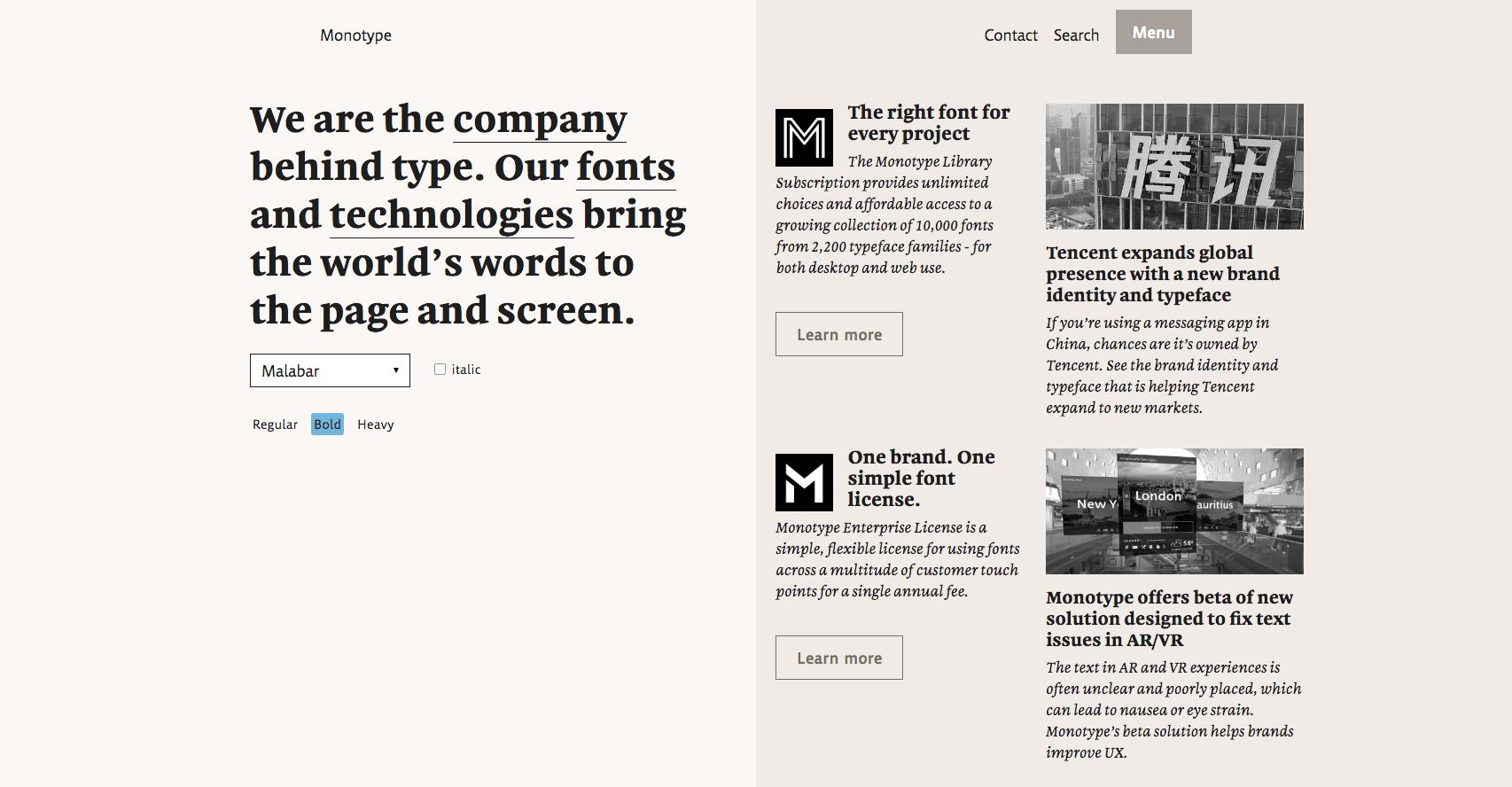 Landing page design - Monotype