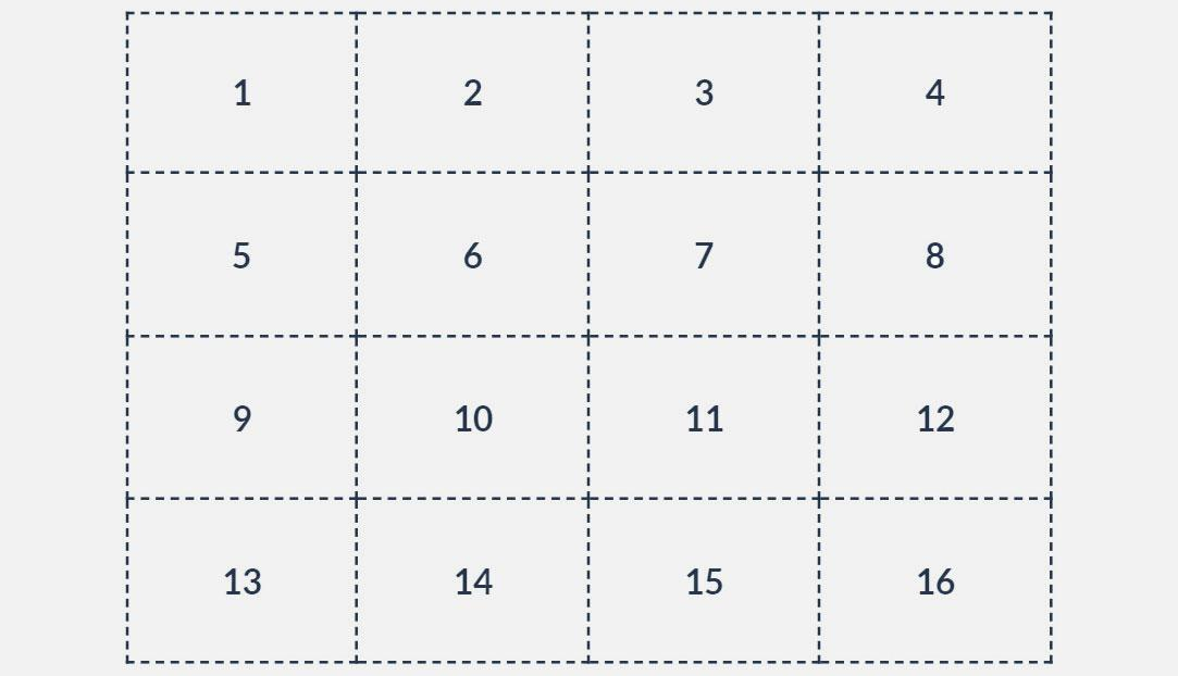 a grid with numbers 1-16 in it