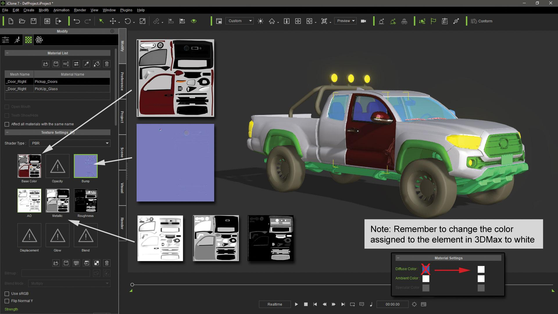 Make vehicle animations with iClone 7: Deactivate the first vehicle simulation