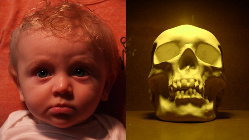 photo of a baby and a skull with red and yellow hues, respectively