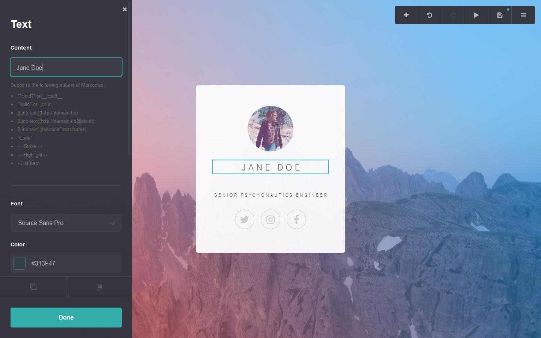 Carrd web design tool