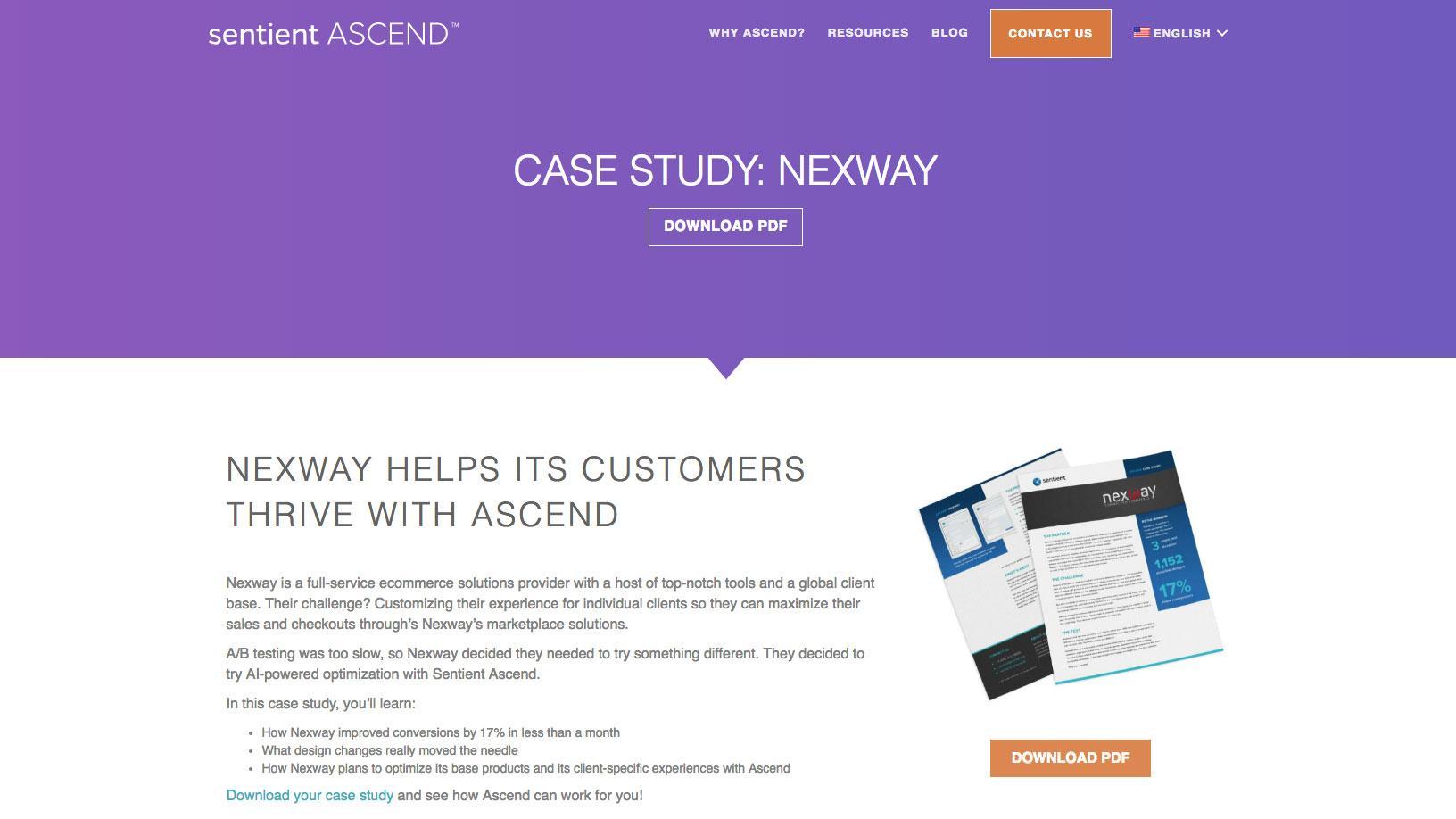 Nexway case study landing page