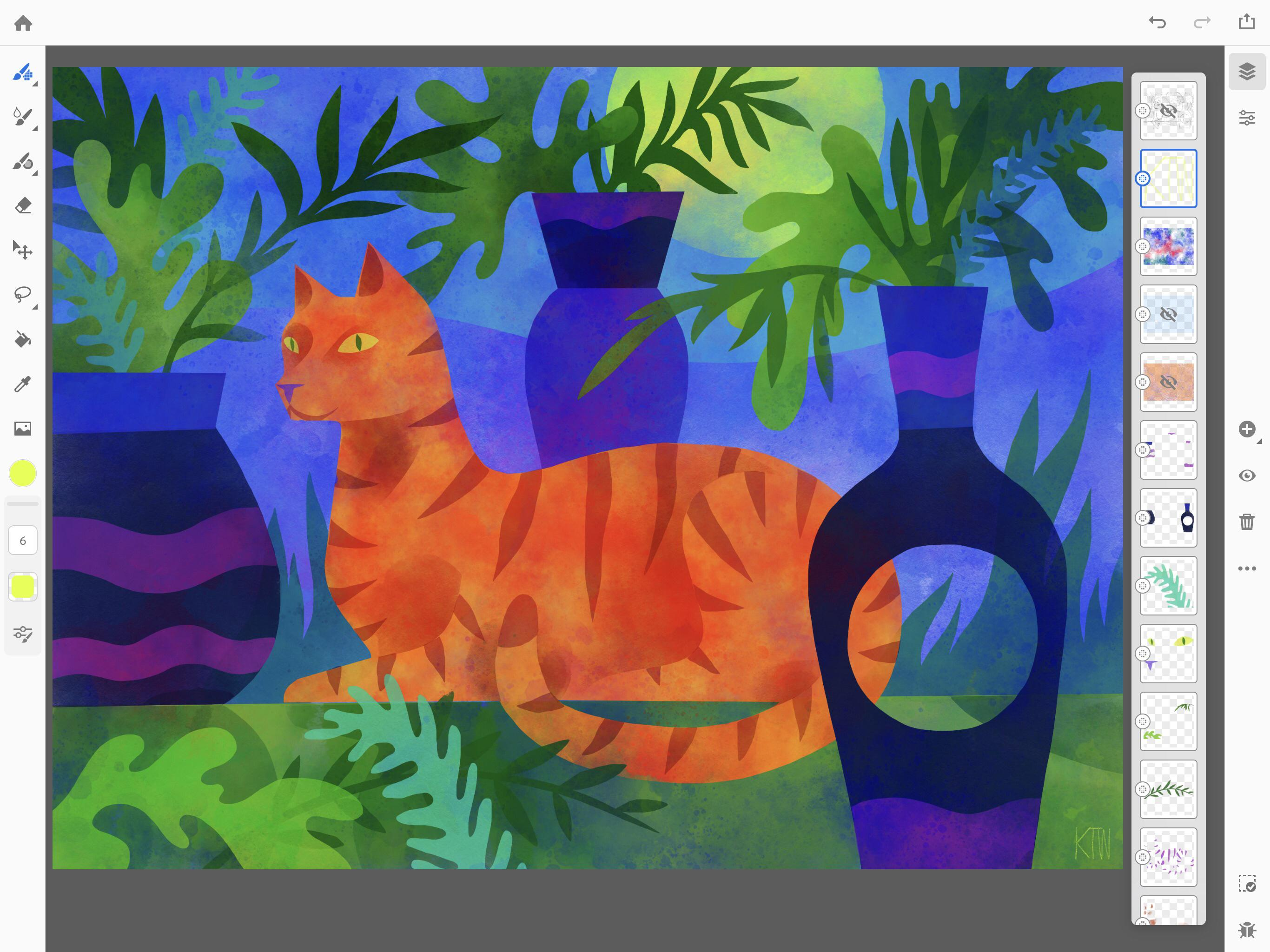 Screenshot of a painting of a cat created in Project Gemini