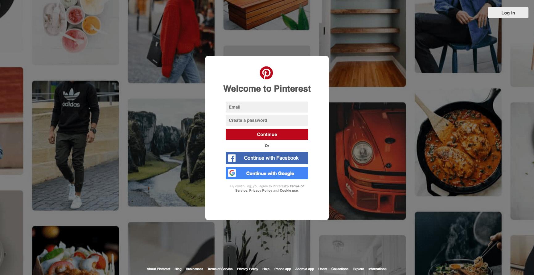 Landing page design: Pinterest