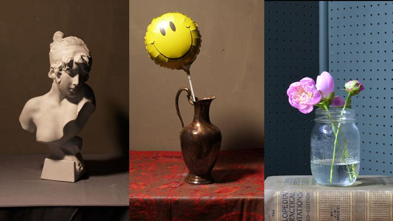 image of a bust, vase with a balloon and jam jar with a flower in