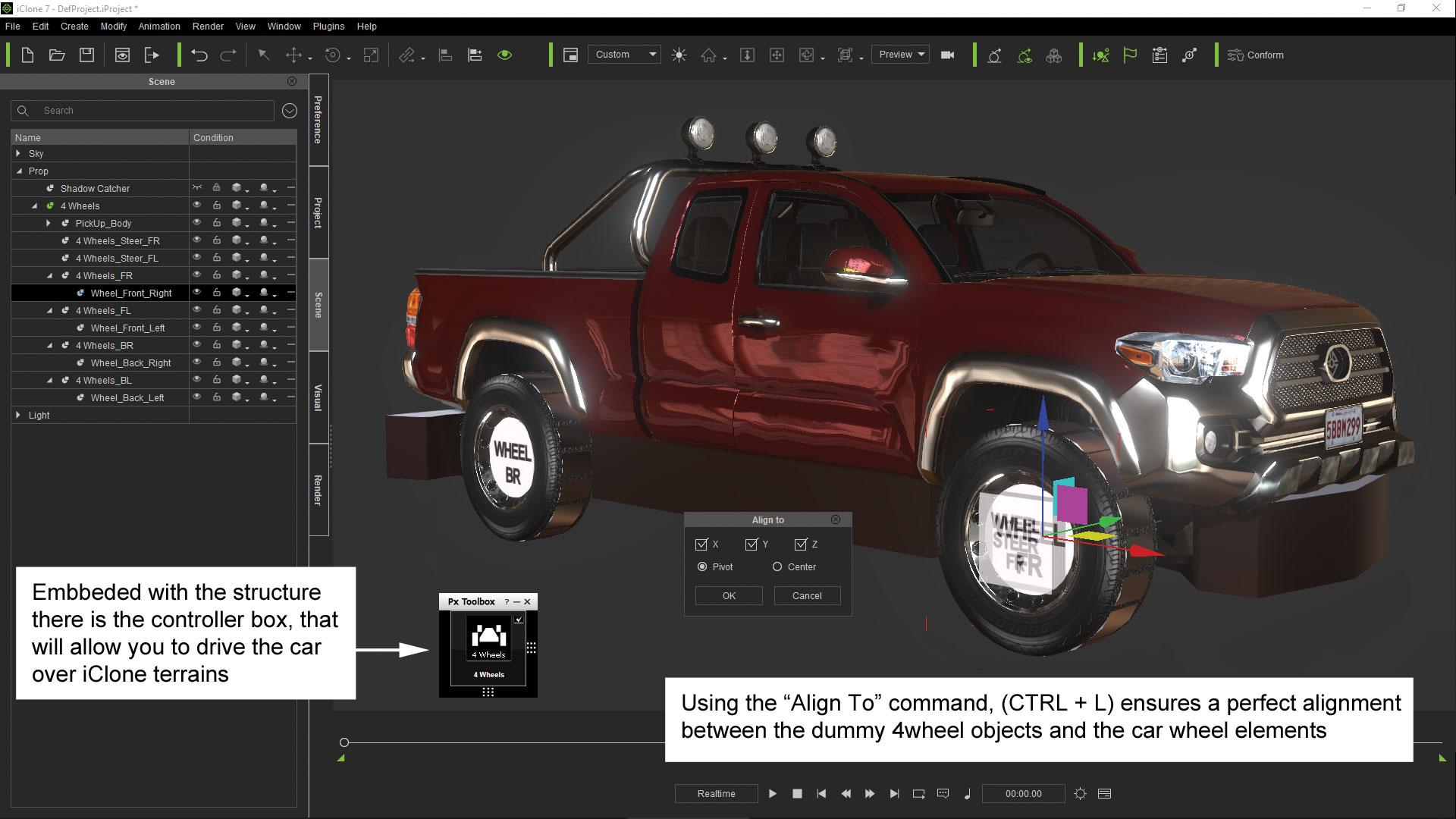 Make vehicle animations with iClone 7: Convert the prop in terrain