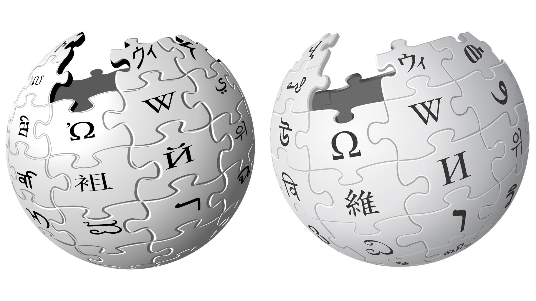 Wikipedia logo before and after