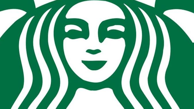 Asymmetrical mermaid in Starbucks logo