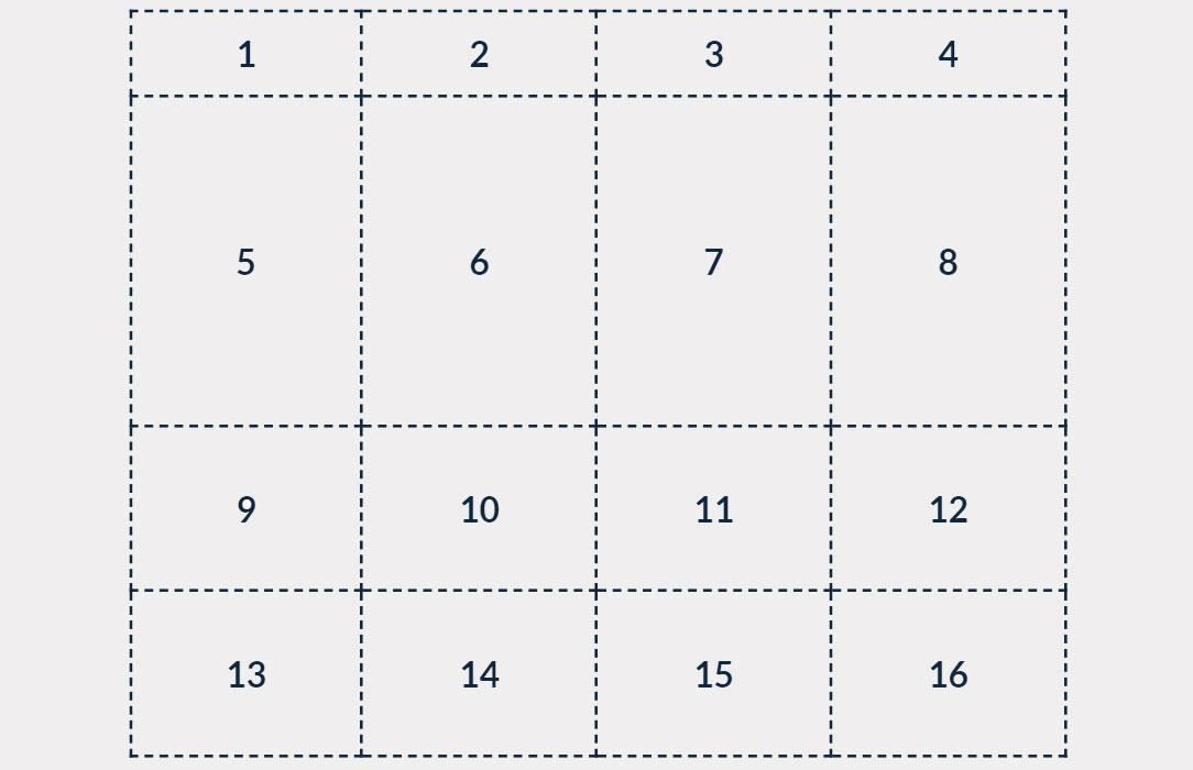 grid 1-16 with 5-8 bigger squares