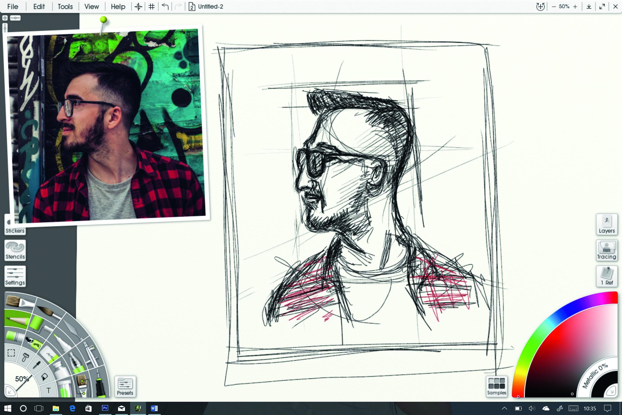 drawing of man with photo next to it