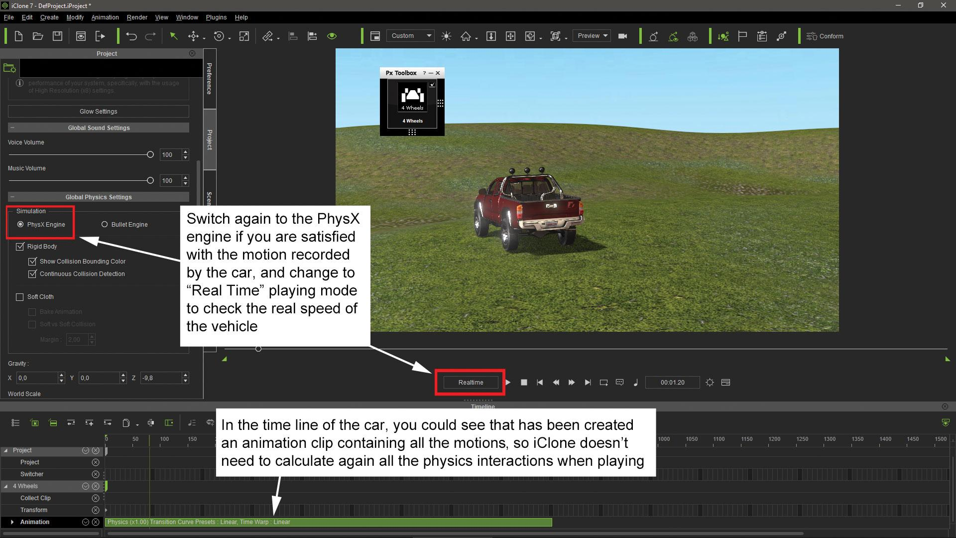 Make vehicle animations with iClone 7: Set the project physics