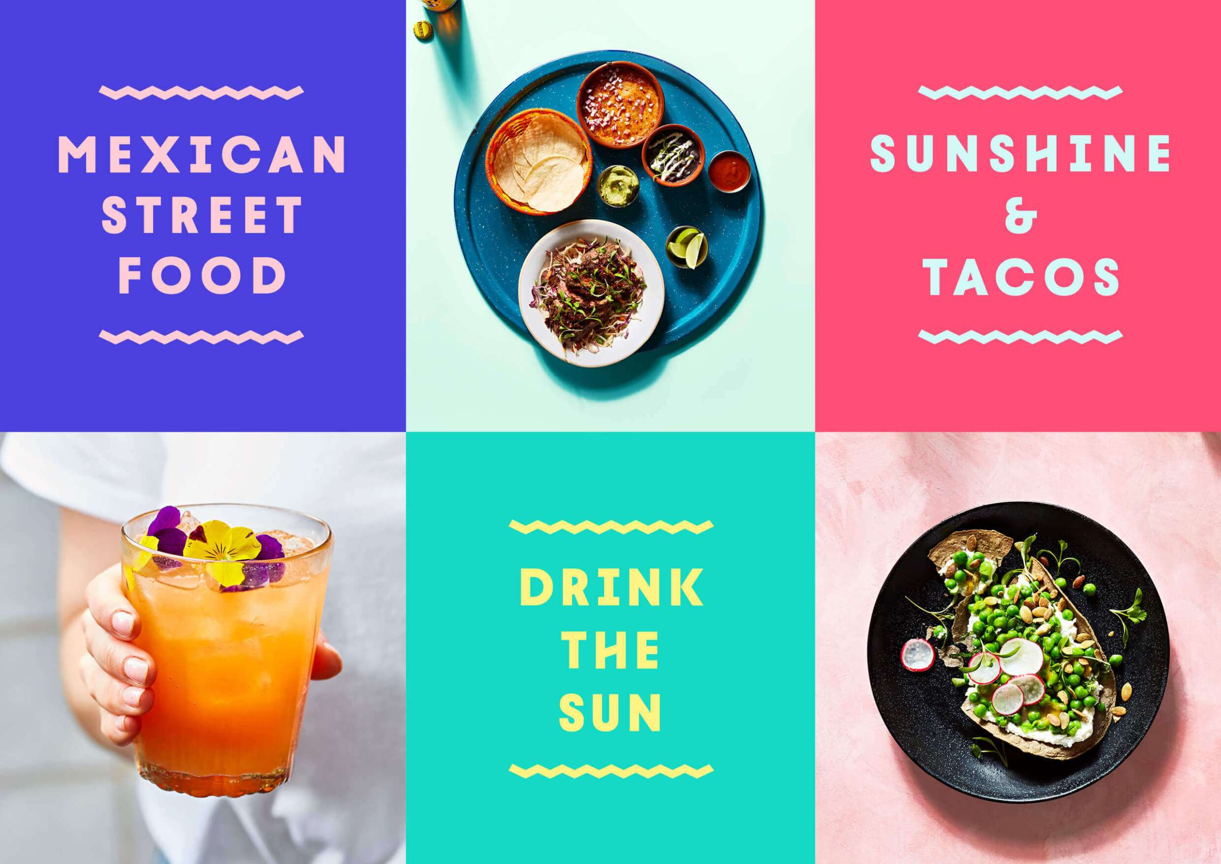 Grid of new Wahaca branding with photos of the food it offers