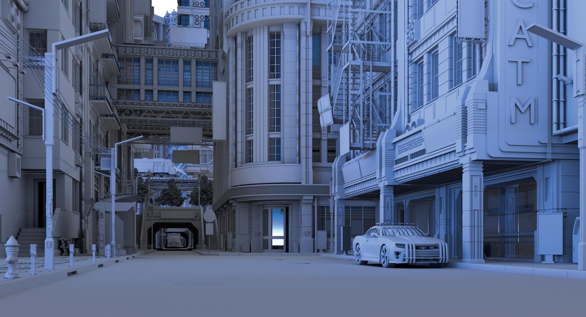 A city scene in Blender