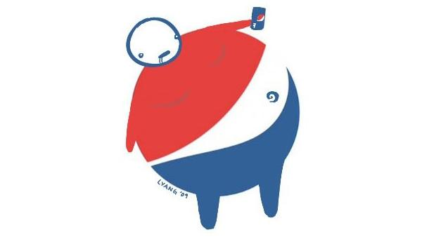 Pepsi logo as overweight man by Lawrence Yang